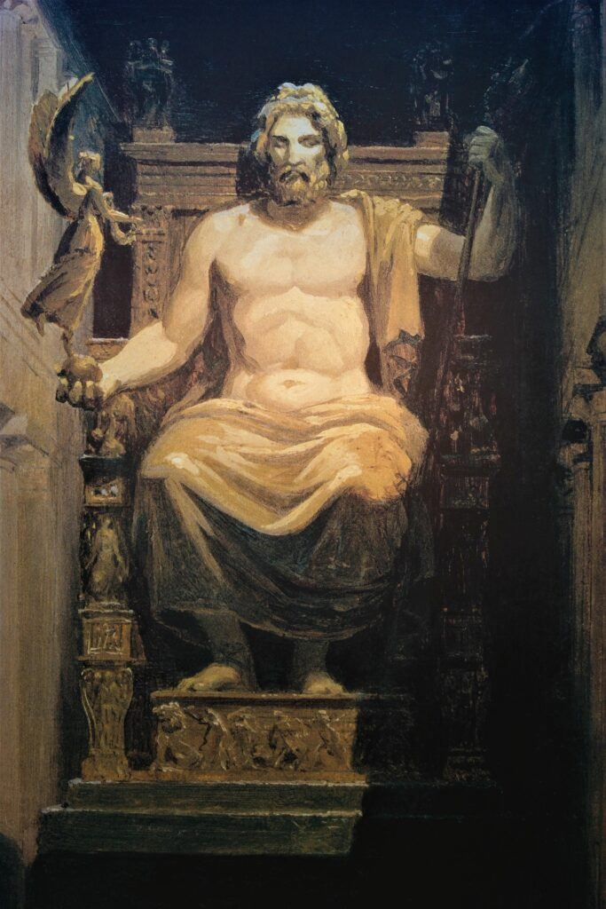 Painting of Phidias' Statue of Zeus at Olympia
