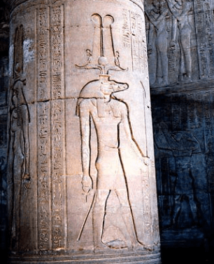 Carving of Sobek on an Ancient Column