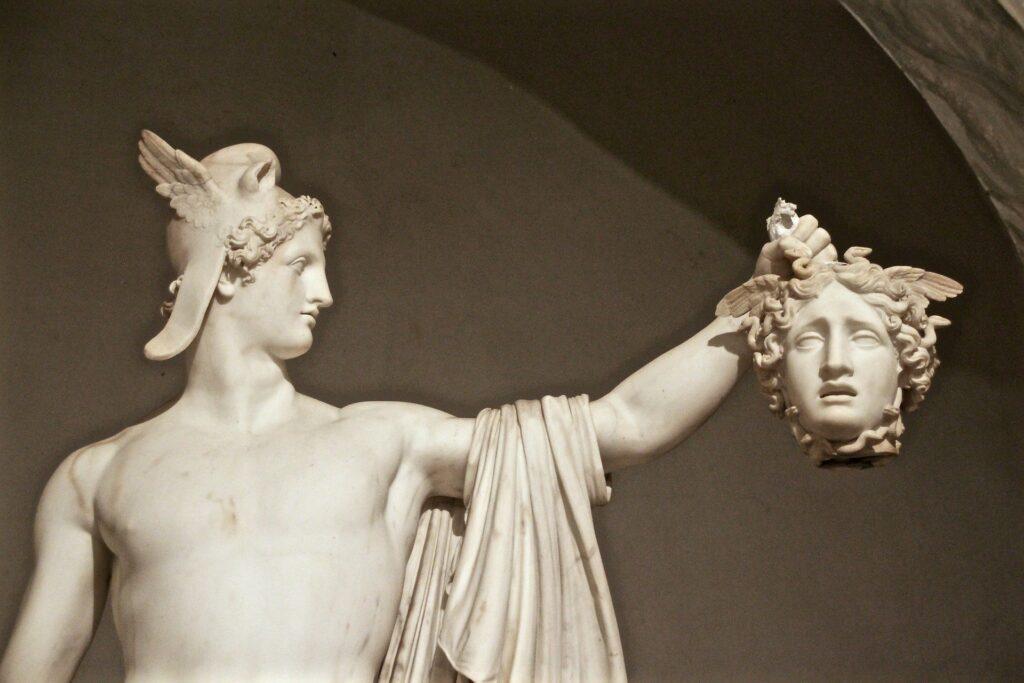 Perseus holding Medusas's head