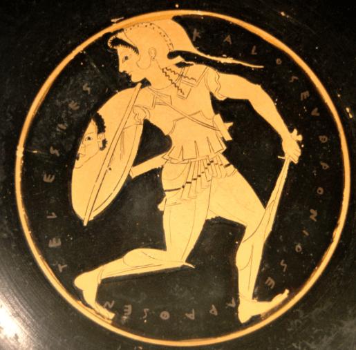 Ancient Greek shield of an Amazonian warrior carrying a Gorgon shield