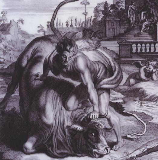 Heracles and the Cretan Bull - Picart (1731)