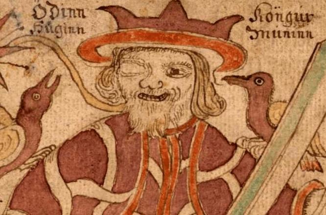 Odin with Huginn and Muninn