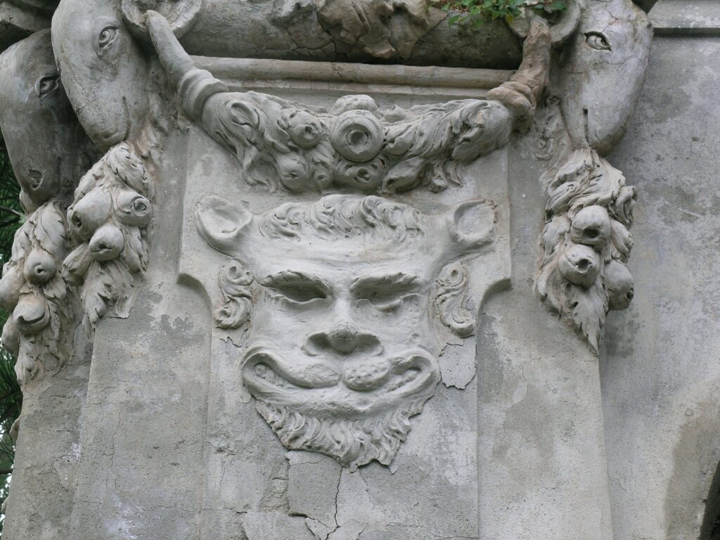 Satyr carving in Nervi, Italy