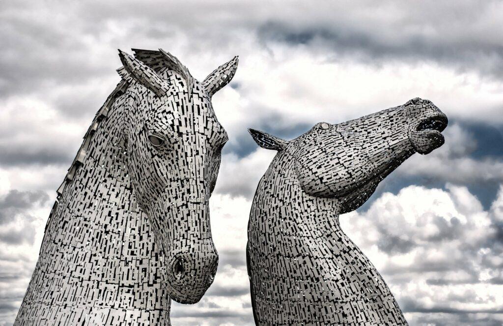 The Kelpies - a modern art fearure in Falkirk, Scotland