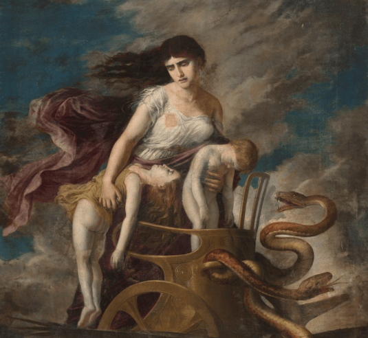Medea travelling to Athens on Helios' golden chariot