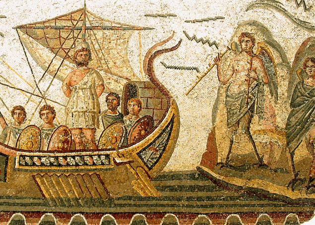 Odysseus travels back home to Ithaca - 2nd century AD mosaic in Tunisia