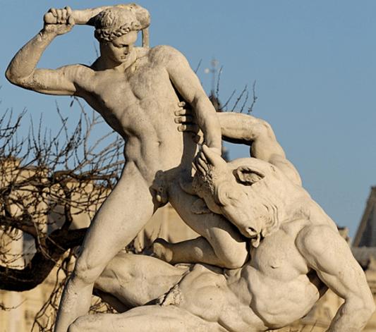 Theseus Fighting the Minotaur - Jean-Etienne Ramey (1826)